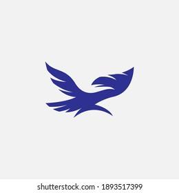 Flying Eagle Falcon Bird Wing Blue Icon Symbol Logo Vector Design
