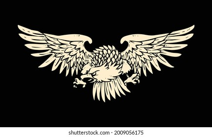 the flying eagle illustration on black background. eagle illustrated as a powerful and patriotic symbol. it's the icon of strength and bravery.