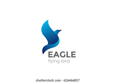 Flying Eagle Logo abstract design vector template. Falcon Hawk corporate Logotype concept icon.