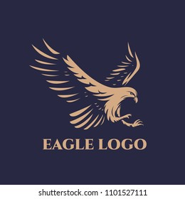 The flying eagle on dark background. Eagle logo template
