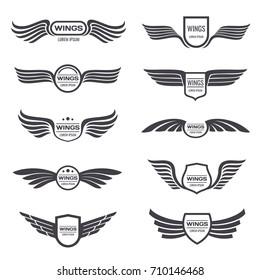Flying eagle wings vector logos set. Vintage winged emblems and labels. Illustration eagle vintage wings emblem