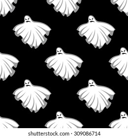 Flying eerie Halloween ghosts seamless pattern on black background, for holiday design