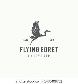 Flying Egret Logo Design Template Inspiration - Vector