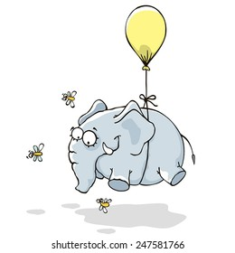 Flying Elephant on a balloon