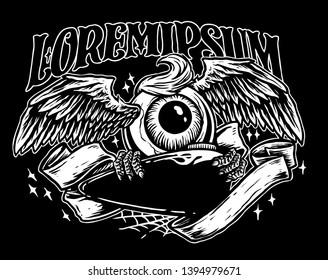 flying eyeball with gas tank custom motorcycle vector illustration