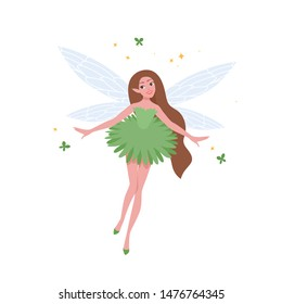 Flying fairy in beautiful dress and with long brunette hair isolated on white background. Folkloric magical creature, character from myths, legends or fairytales. Flat cartoon vector illustration.