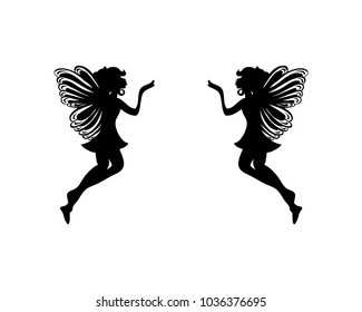 Flying Fairy Kiss Long Distance Sign Symbol Silhouette Logo Vector