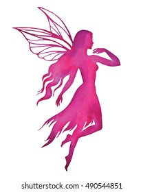 Flying fairy, watercolor textured vector silhouette illustration.