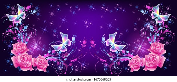 Flying fantasy butterflies with pink roses, ornament and sparkle stars