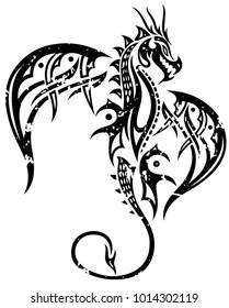 Flying fantasy dragon. Grunge style.