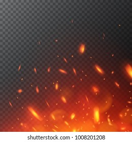 Flying fiery sparks. Burning fire flames. Glowing particles.