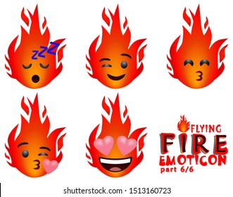 flying fire emoticons with several expressions part 6 (Sleeping Face, Winking face or Humor , Kissing face, Throwing a Kiss, Romantic face or Affection)