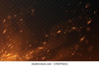 Flying fire sparks on transparent background
