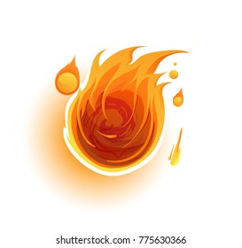 Flying fireball icon. Vector fire stylized logo