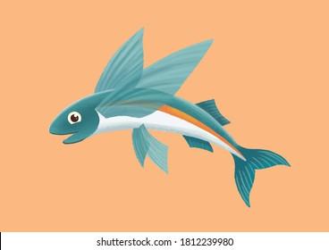 Flying fish cartoon vector illustration. Cute orange blue fish isolated on background. Underwater sea animal. Marine life