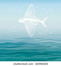 Flying fish on a sea background