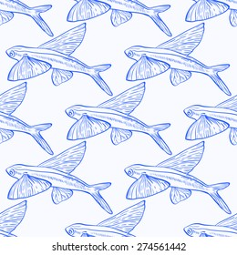 Flying Fish Seamless Vector Pattern in blue and white