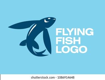 Flying fish silhouette logo template. Vector illustration.