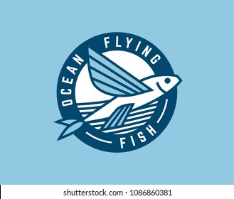 Flying fish and waves logo template. Vector illustration.