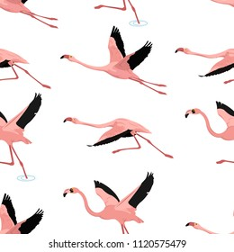 flying flamingo pattern seamless vector with shadow