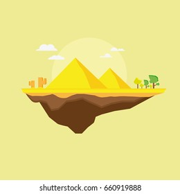 Flying Flat Desert Island With Pyramid And Tree