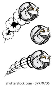 Flying funny baseball ball isolated on white or logo template. Jpeg version also available in gallery