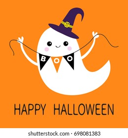 Flying ghost spirit holding bunting flag Boo. Witch hat. Happy Halloween. Scary white ghosts. Cute cartoon spooky character. Smiling face, hands. Orange background. Greeting card. Flat design. Vector