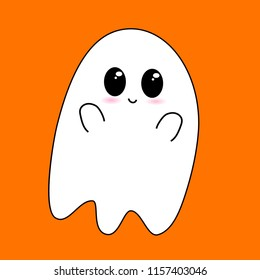 Flying Ghost wishes a happy Halloween. Scary white ghost. Cute little flying Ghost . Smiling face, hands. Orange greeting card background. Flat design. Vector illustration