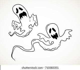 Flying ghosts. Hand drawn Halloween celebration design element symbol. Vector illustration in black isolated over white.
