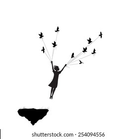 flying girl and holding pigeons, fly in the dream, shadows, black and white, silhouette.