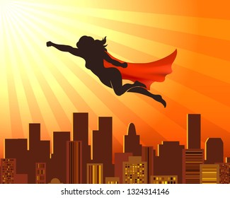 Flying girl superhero. Sup hero woman silhouette over city roofs, red cape vector comic super justice concept