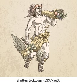 Flying god Hermes with caduceus and cornucopia, in sepia. Vector illustration.