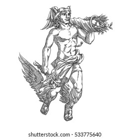 Flying god Hermes with caduceus and cornucopia, in engraving style. Vector illustration.