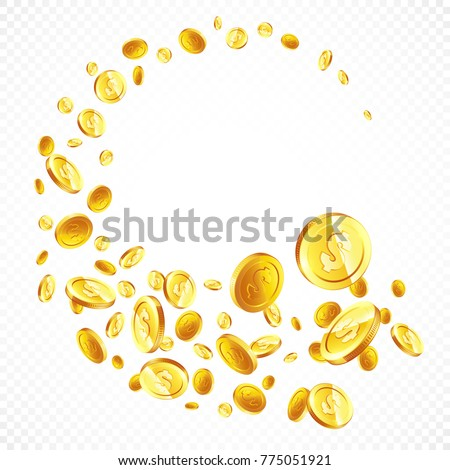 07645c6ec9f8 Flying Gold Coins Different Positions Illustration Stock Vector ...