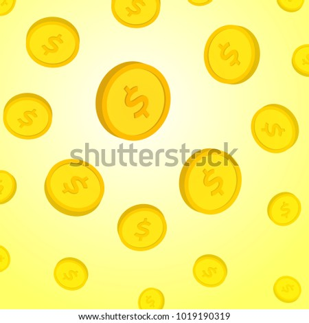 flying gold dollar coin template design stock vector royalty free