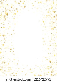Flying gold star sparkle vector with white background. Festive gold gradient christmas sparkles glitter geometric star pattern. Christmas starlight card backdrop.