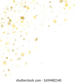Flying gold star sparkle vector with white background. Vintage gold gradient christmas sparkles glitter geometric star pattern. Party starburst magical backdrop.
