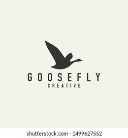 flying goose logo - vector illustration on a light background