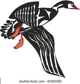 Flying goose rendered in Northwest Coast Native style.