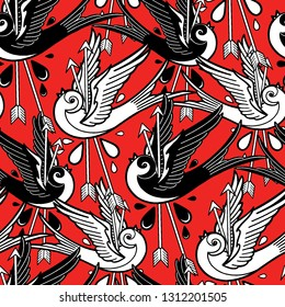 Flying graphic swallows pierced by two metal arrows. Vector old school seamless pattern