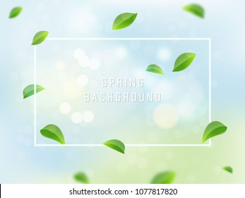 Flying green leaves on light blue background. Realistic vector background.