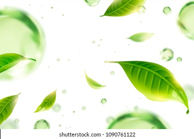 Flying green tea leaves and water drops on white background illustration