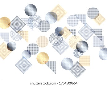 Flying halftone geometric shapes vector pattern graphic design. Abstract background with squares, circles, triangles. Progressive technological motion concept, scientific cover.
