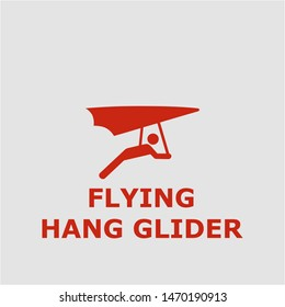Flying hang glider symbol. Outline flying hang glider icon. Flying hang glider vector illustration for graphic art.