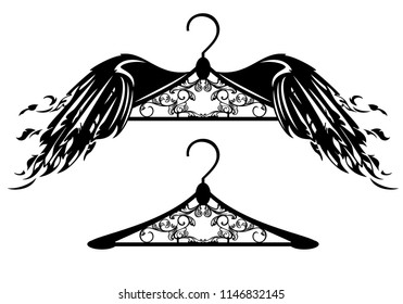 flying hanger with bird wings - fashion clothing vector design set