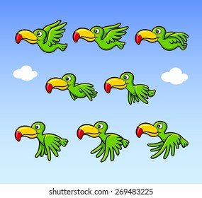 Flying happy bird cartoon character sprite sheet game asset. You can use for banner animation, games, or any design you want. Easy to use.