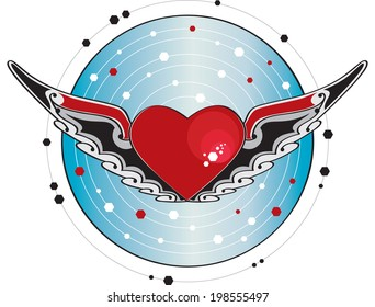 Flying heart. Heart with wings and decorated with a blue background
