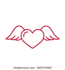 flying heart with wings red line icon on white background