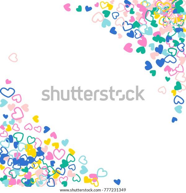 Flying Hearts Frame Vector Border Background Stock Vector