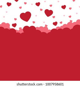 Flying hearts on white background with copy space, Romantic love and Valentine's day concept, Vector illustration